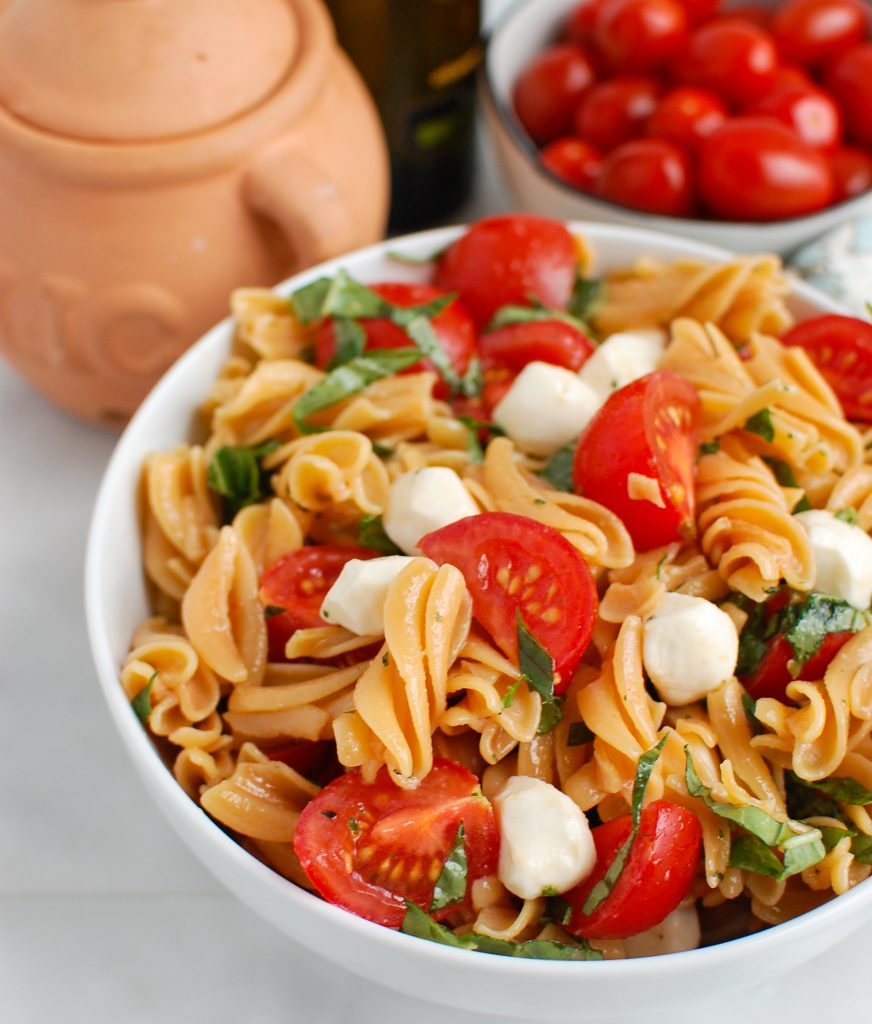 Caprese Pasta in white bowl