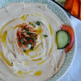 Easy Hummus Recipe with teal bowl