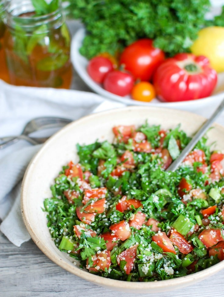 Tabouli Salad with white napkin