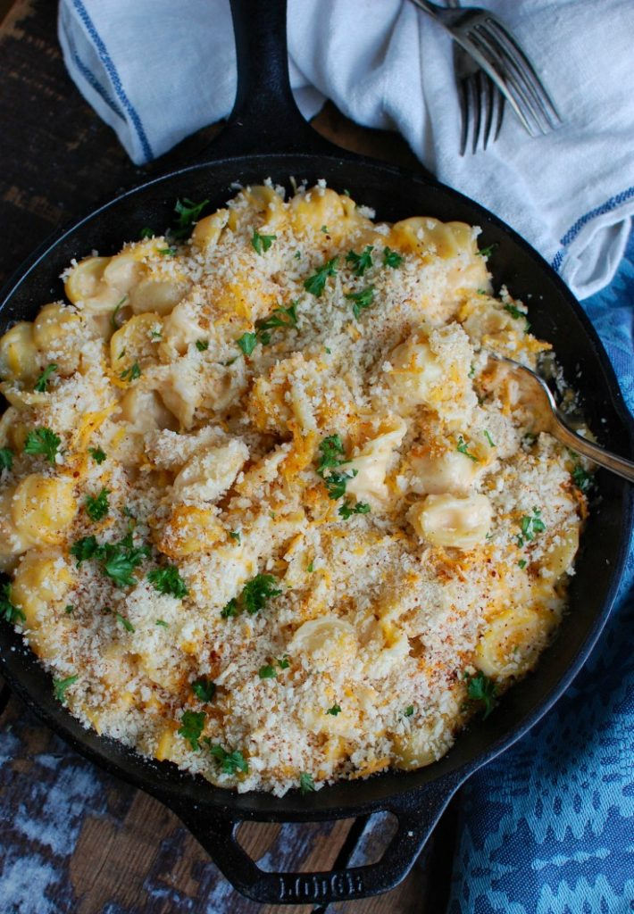 Baked Mac and Cheese with Panko Bread Crumbs Recipe Cast Iron Skillet