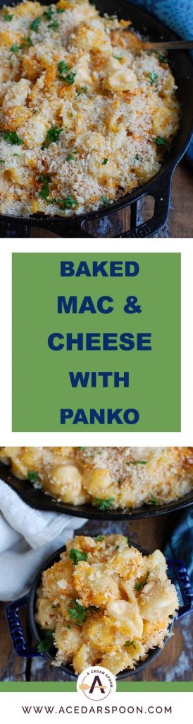 Baked Mac and Cheese with Panko Breadcrumbs is an easy homemade macaroni and cheese recipe using your favorite pasta, a cheesy sauce and panko breadcrumbs for crunch. This is the perfect comfort food!