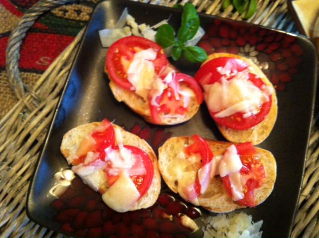 Tomato and Parmesan Toasted Baguette recipe from A Cedar Spoon