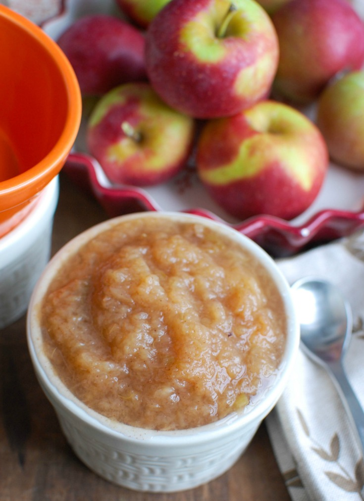 Crockpot Applesauce in a white bowl.