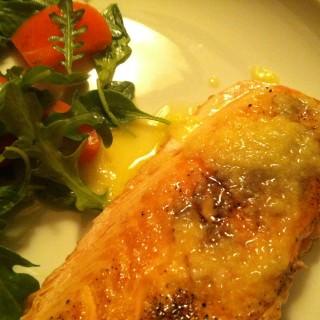 Crispy Salmon with Carrot Ginger Vinaigrette Recipe
