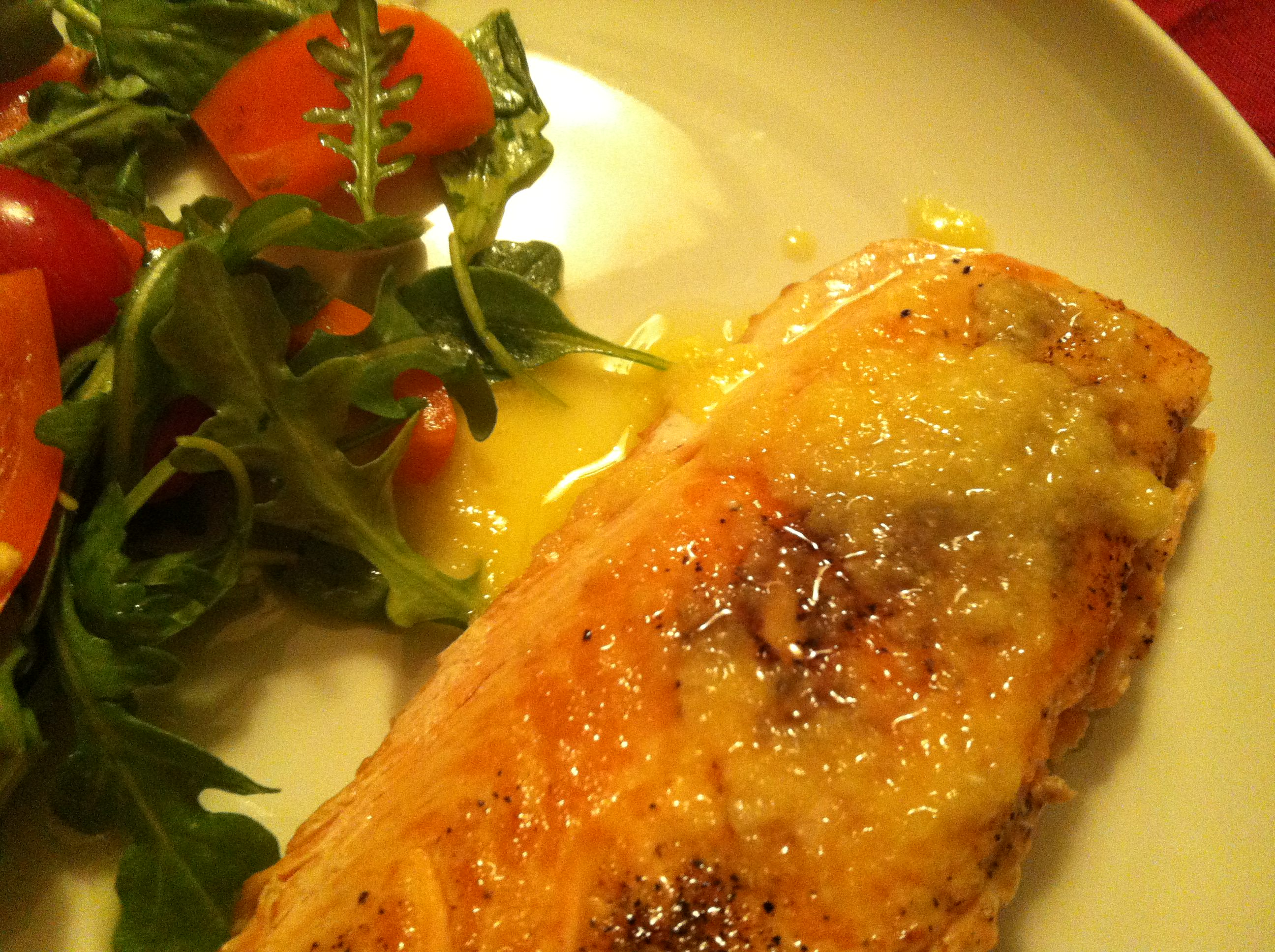 Crispy Salmon with Carrot Ginger Vinaigrette Recipe