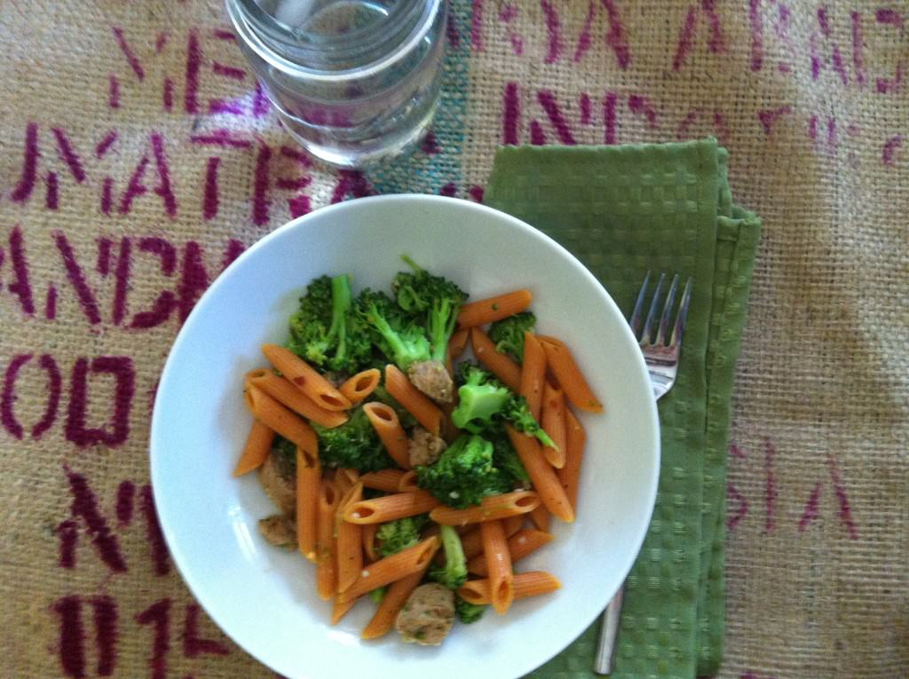 quick and easy Penne with Turkey Sausage, Broccoli and Garlic