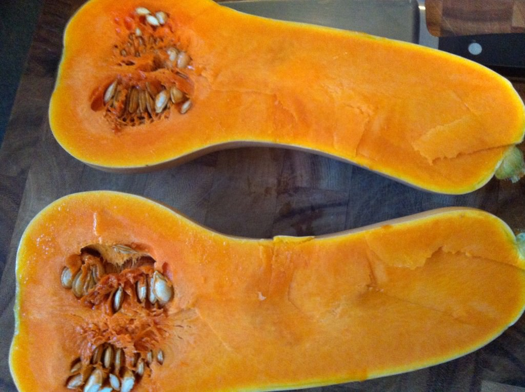 Roasting Butternut Squash - both squash halves