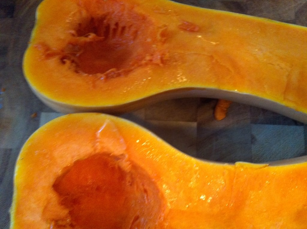 Roasting Butternut Squash - cleaned squash