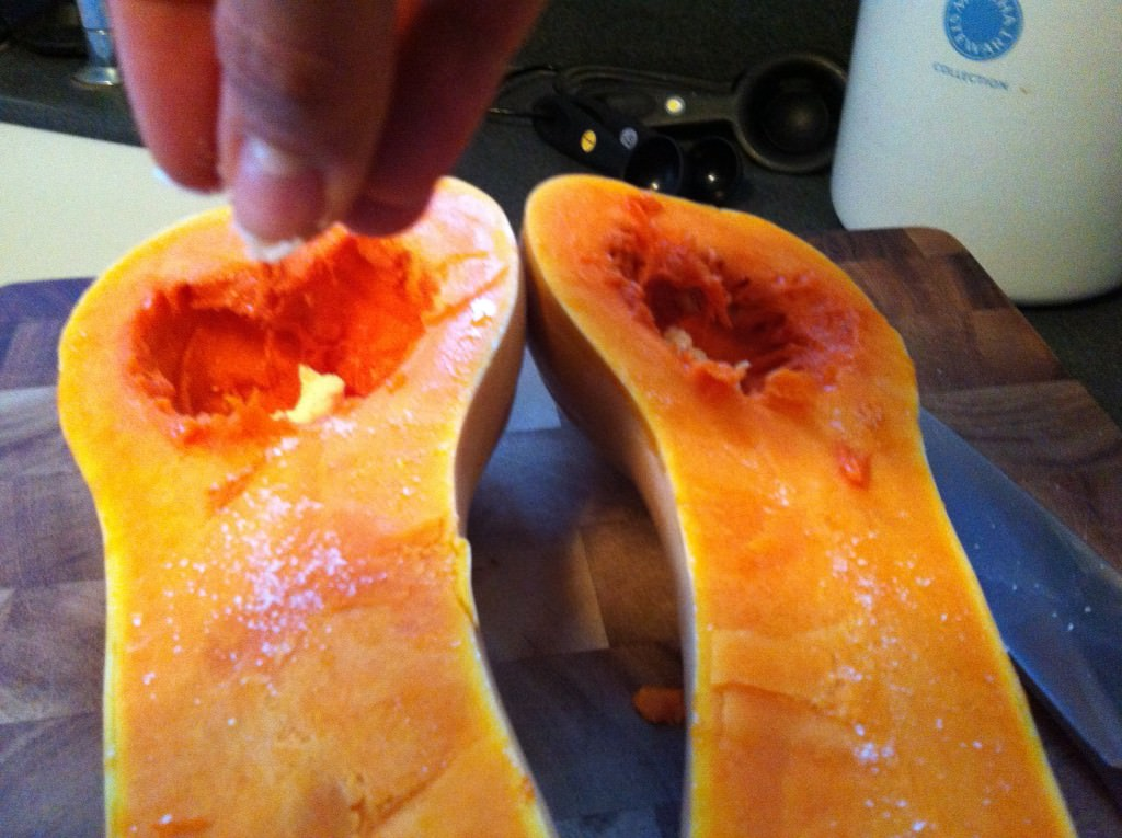 Roasting Butternut Squash - add salt and pepper