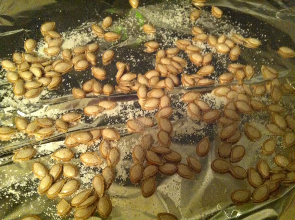 Roasting Butternut Squash - salted seeds