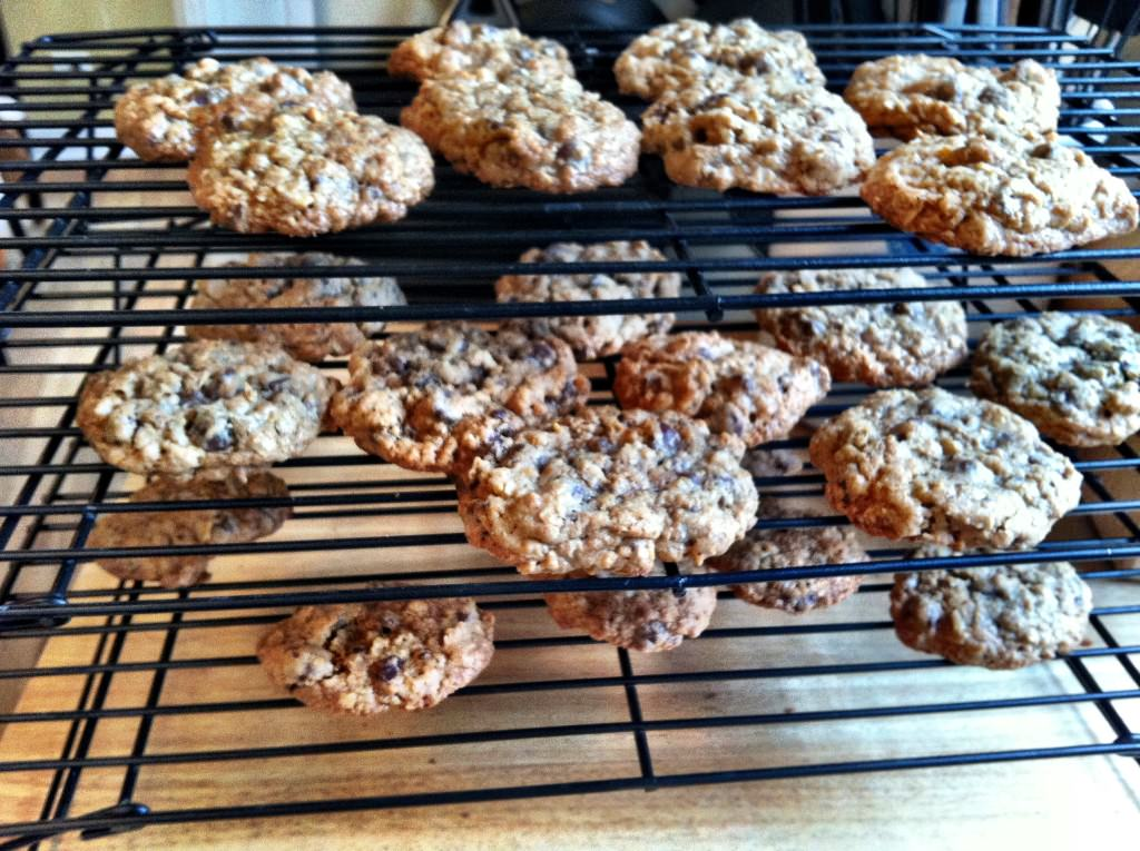 fresh baked Whole Wheat Oatmeal Chocolate Chip Cookies