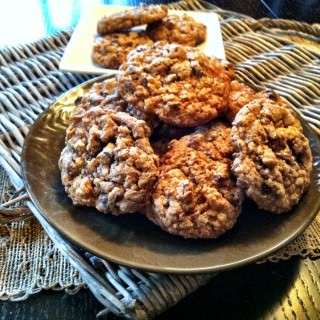 plate of Whole Wheat Oatmeal Chocolate Chip Cookies