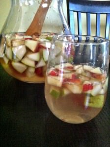 pretty glass of White Pear and Apple Sangria