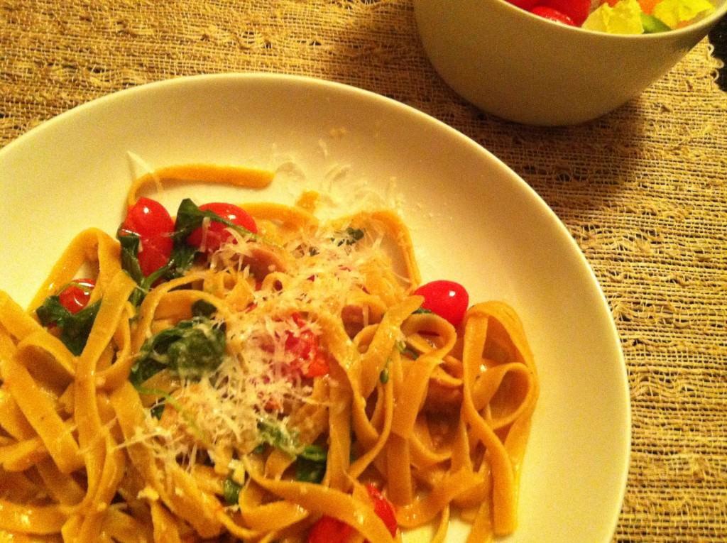 Sausage, Tomato, and Arugula Fettuccine plated