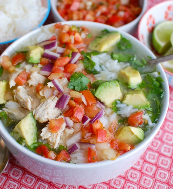 Slow Cooker Mexican Chicken Lime Soup in white bowl