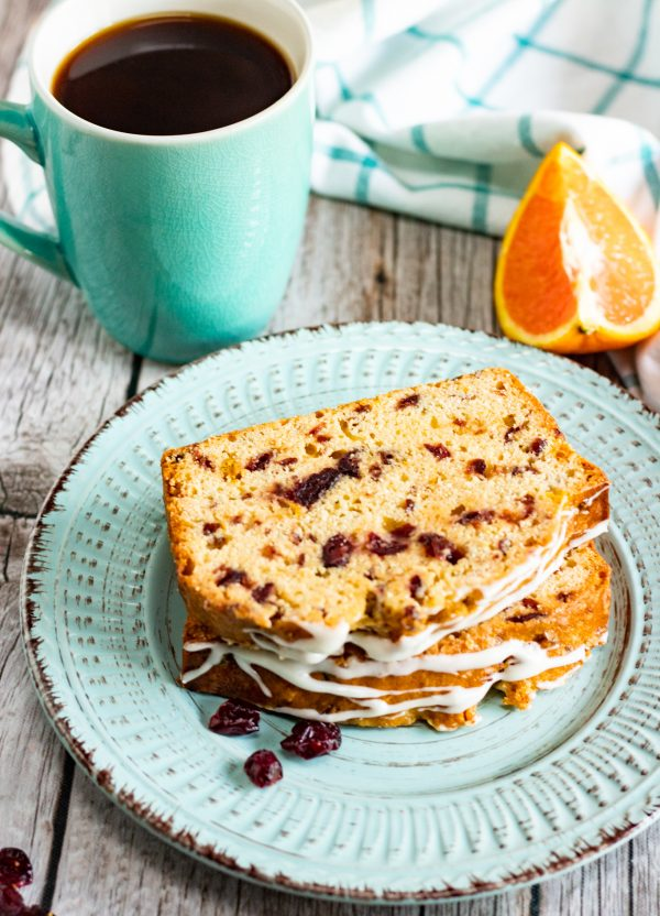 Cranberry Bread Recipe bread on plate