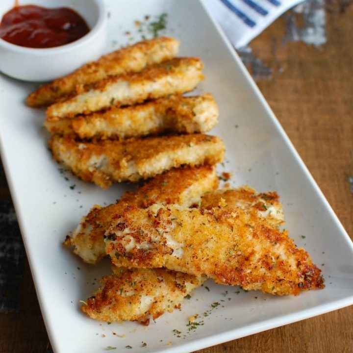 Healthy Chicken Fingers with blue napkin