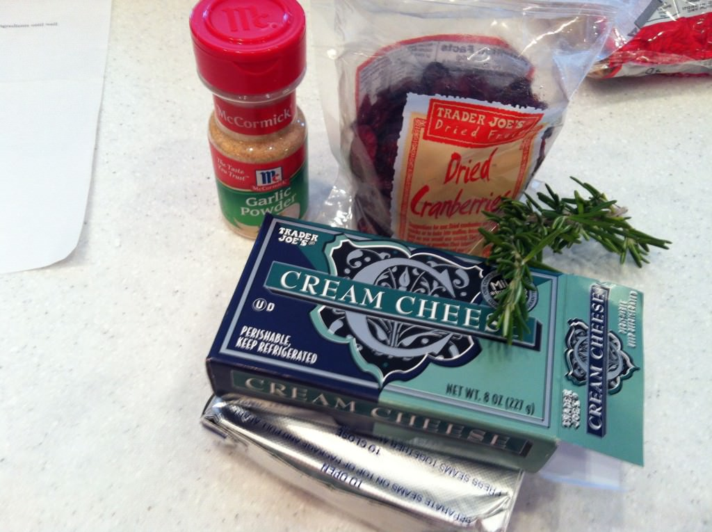 ingredients for Rosemary Cranberry Spread