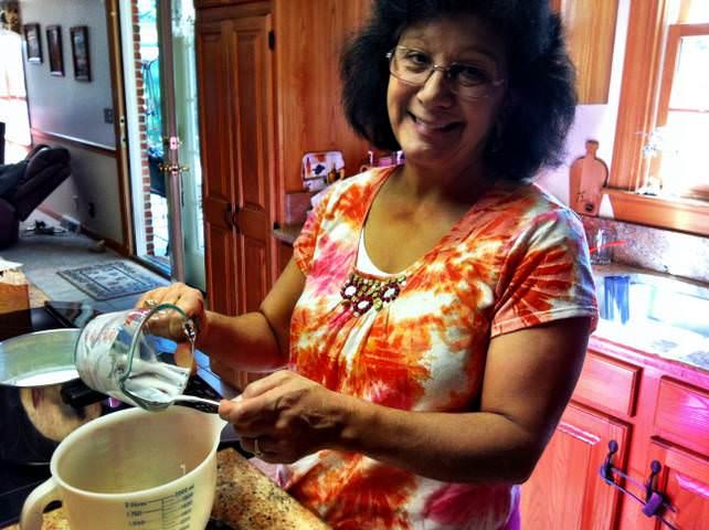 mom making Homemade Yogurt