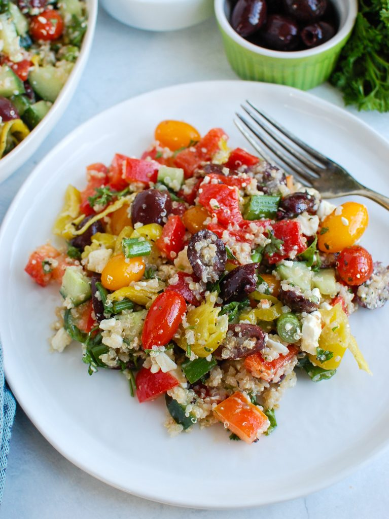 Greek Quinoa Salad with fork