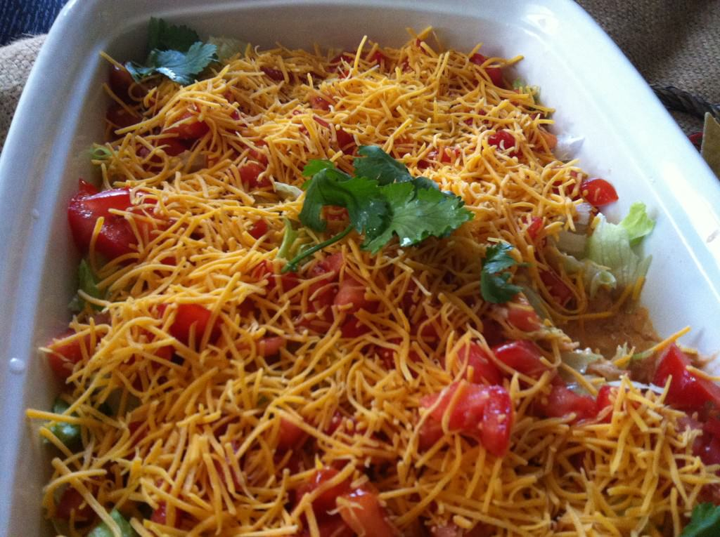Skinny Seven Layer Dip close up