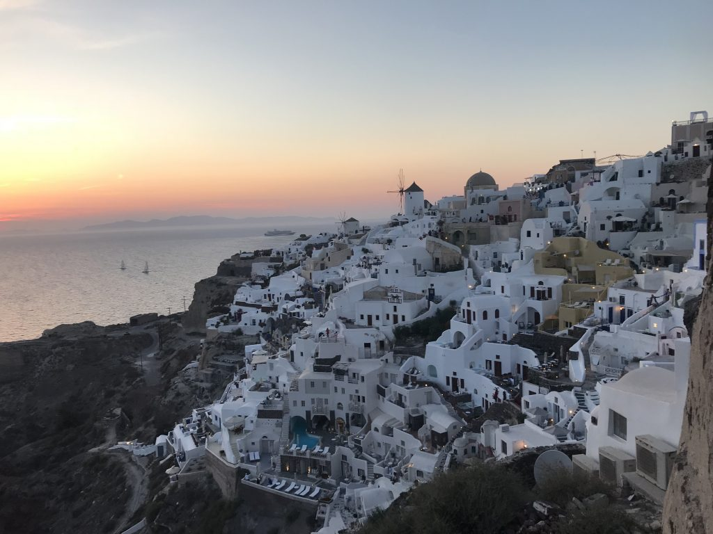 Santorini, Greece at Sunset