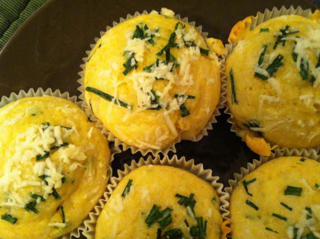 freshly baked Parmesan And Chive Corn Muffins