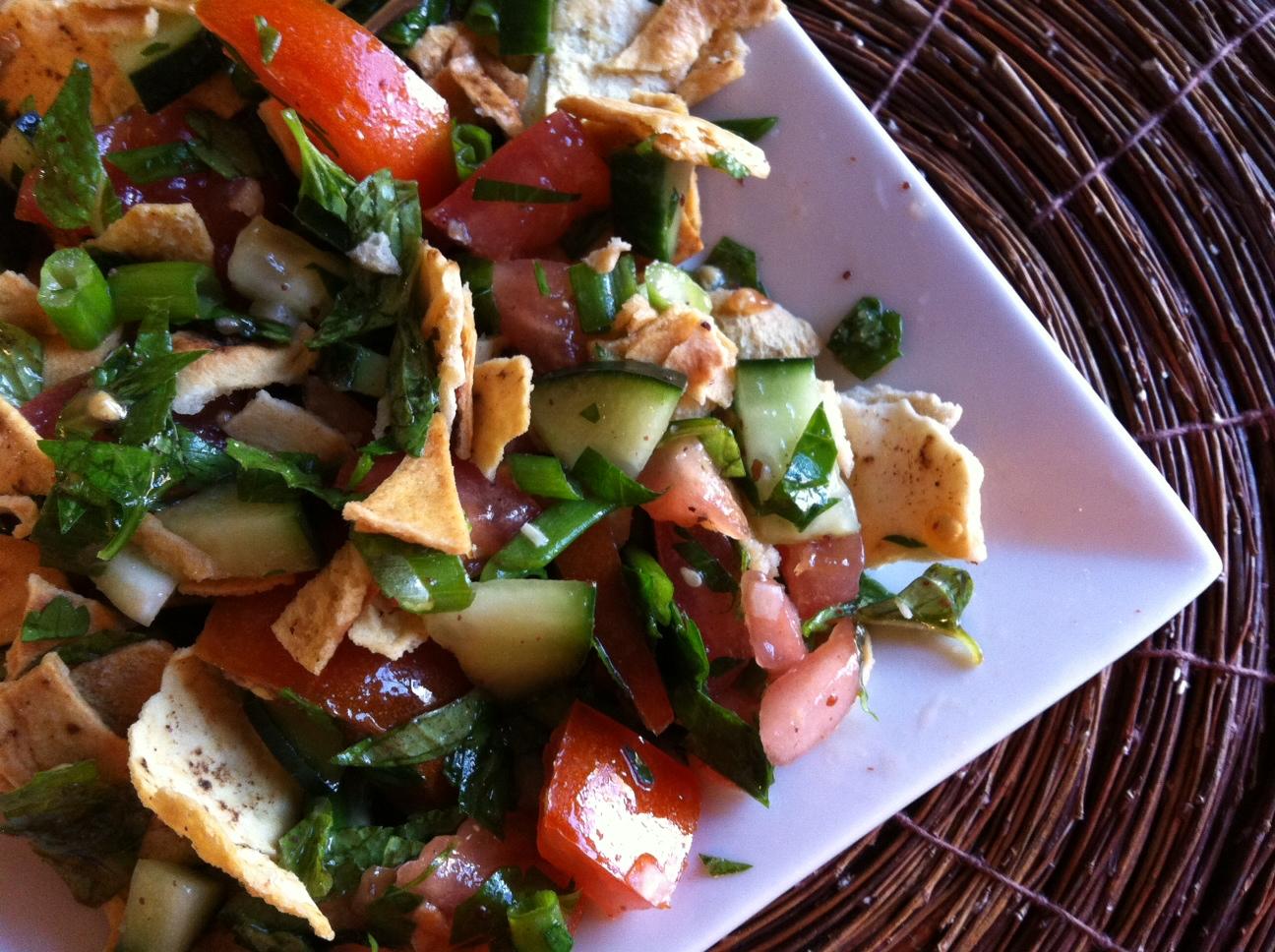 Pita Bread Salad recipe from A Cedar Spoon