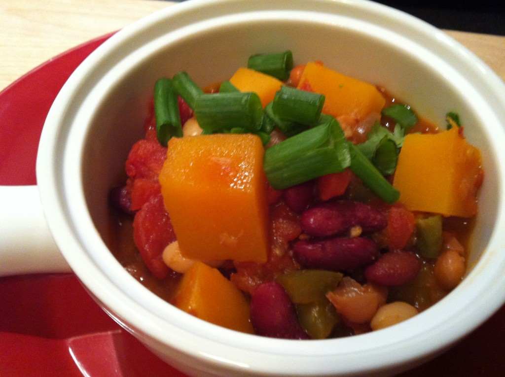 Three Bean Butternut Squash Chili - bowl of yum!