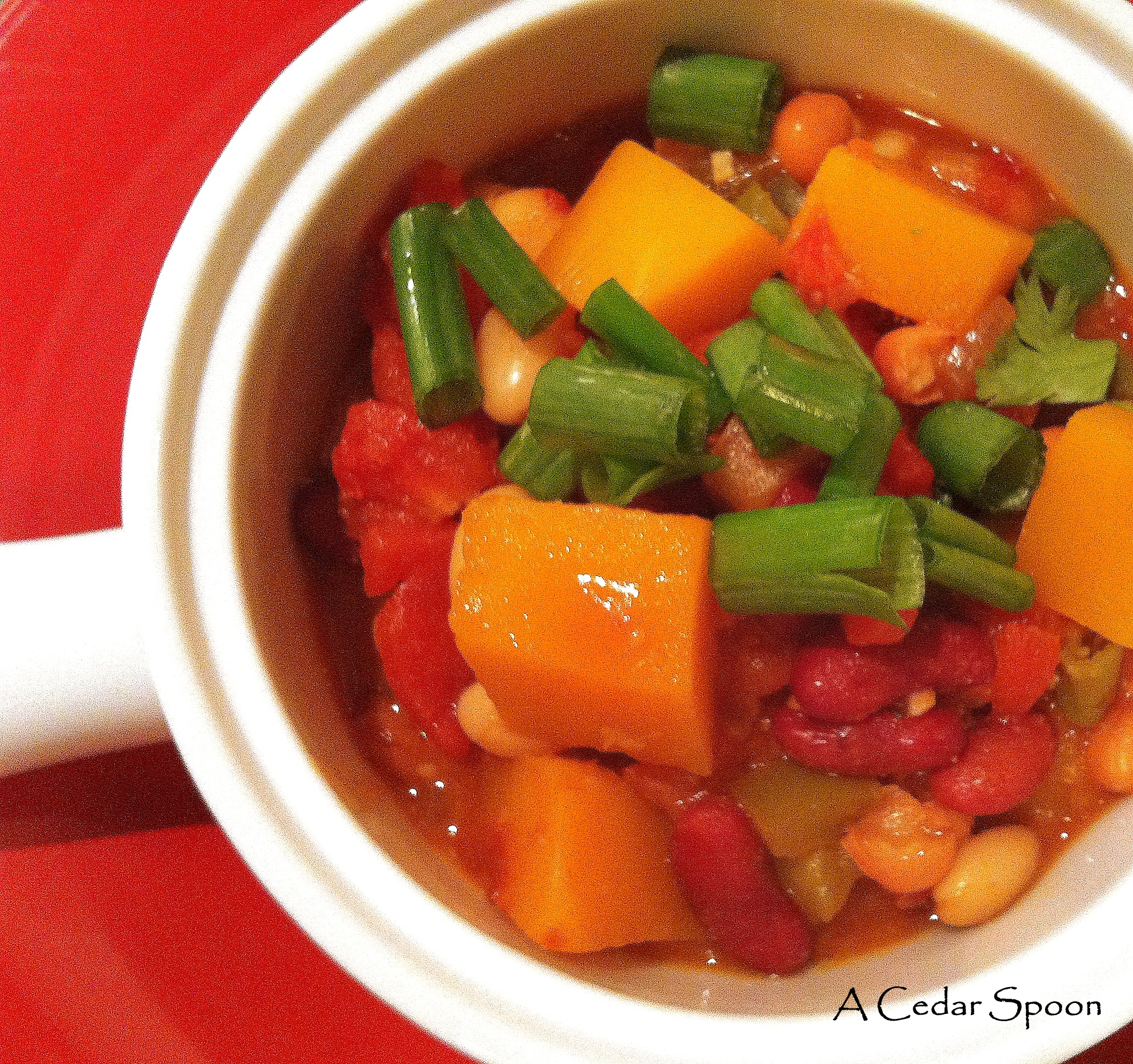Three Bean Butternut Squash Chili recipe from A Cedar Spoon