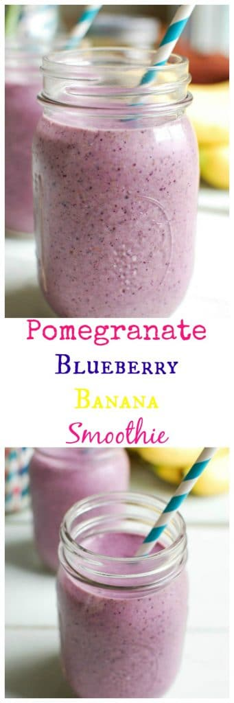Pomegranate Blueberry Banana Smoothie is a powerhouse of a smoothie. Packed with antioxidants, and easy to make!