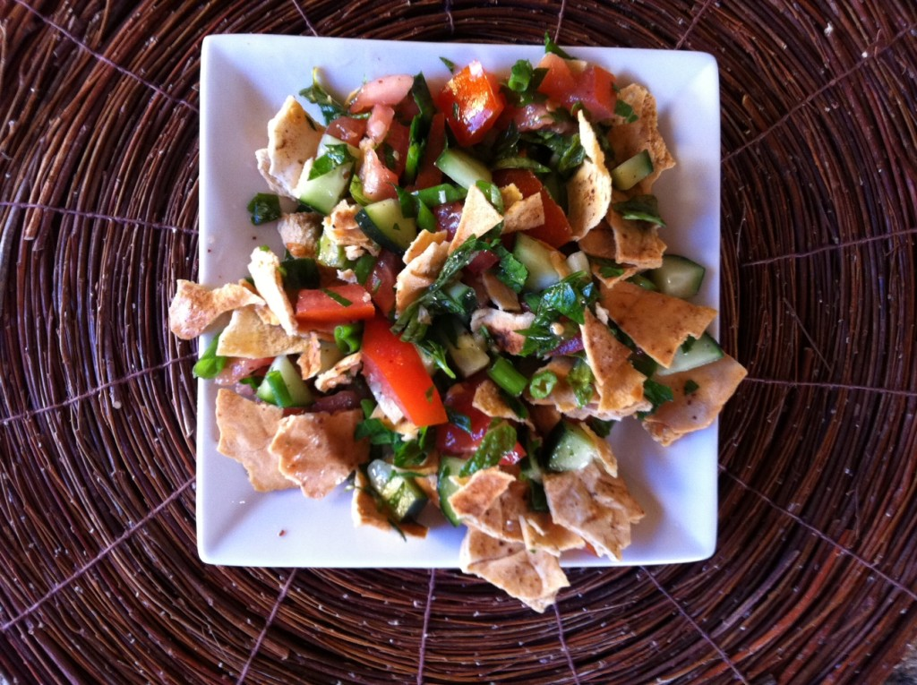 Pita Bread Salad on a plate
