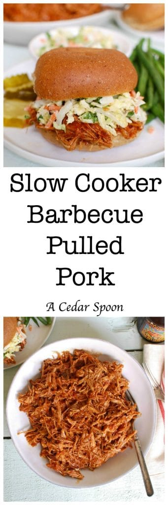 Slow Cooker Barbecue Pulled Pork is so easy to make! Don't heat up your house this summer either!