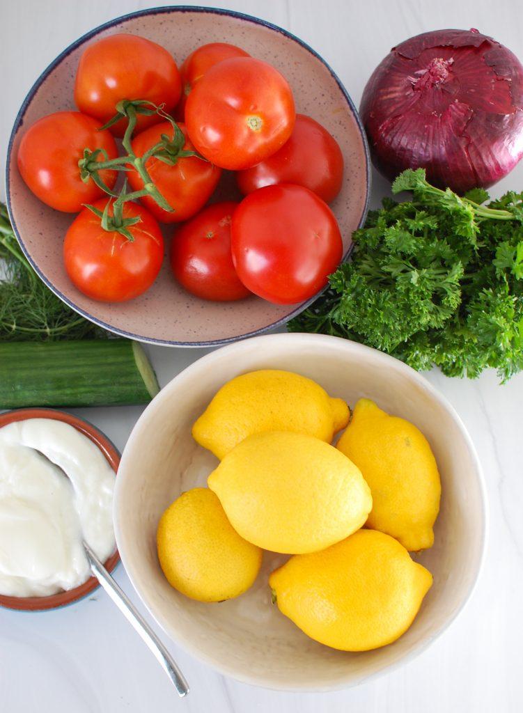 Tomato Cucumber Salad with Yogurt Dressing ingredients