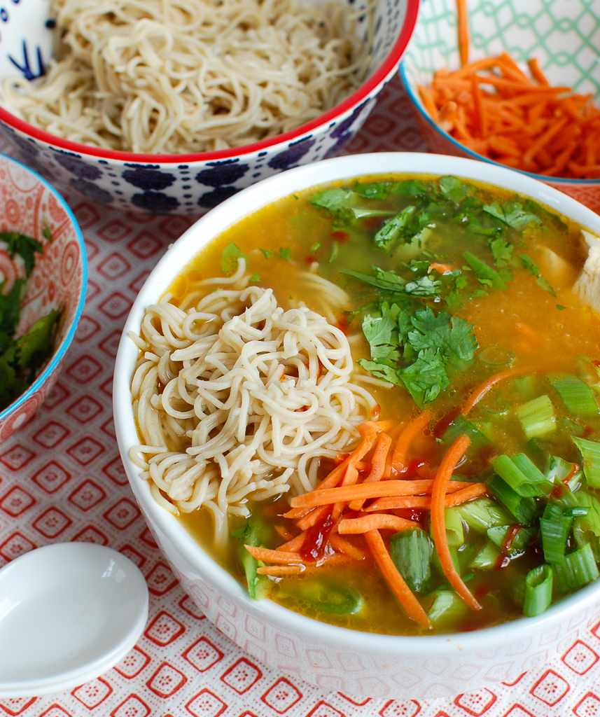 Asian Chicken Noodle Soup with spoon