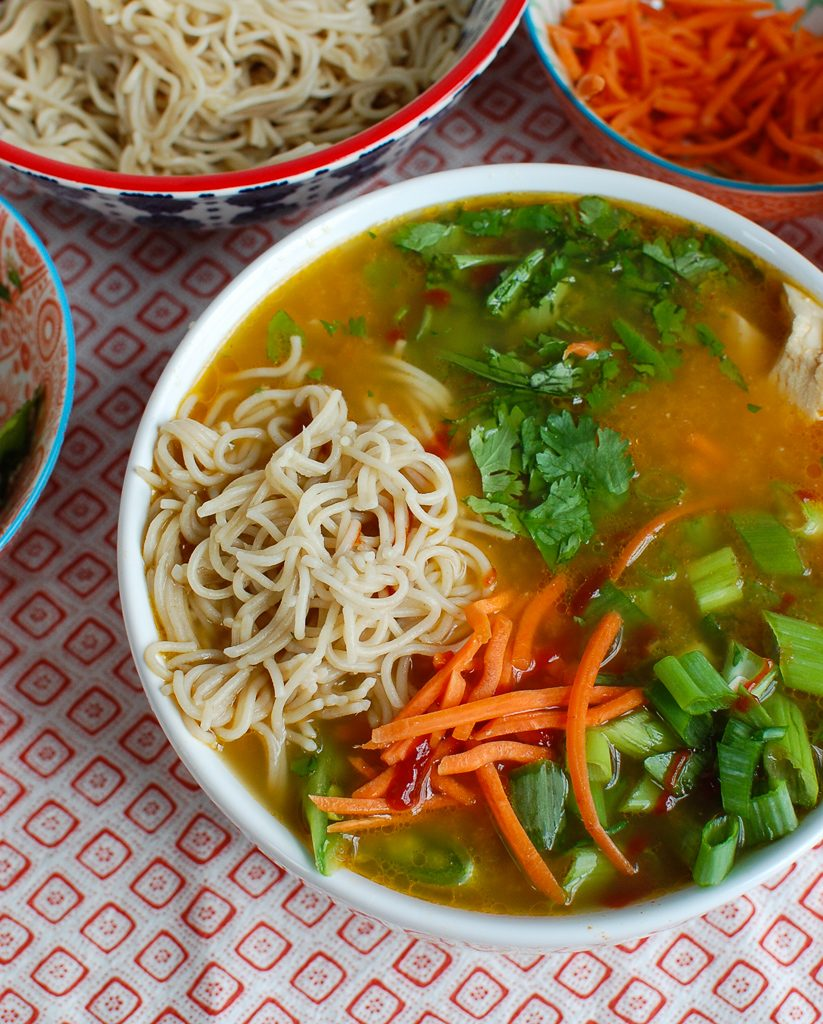 Asian Chicken Noodle Soup with noodles