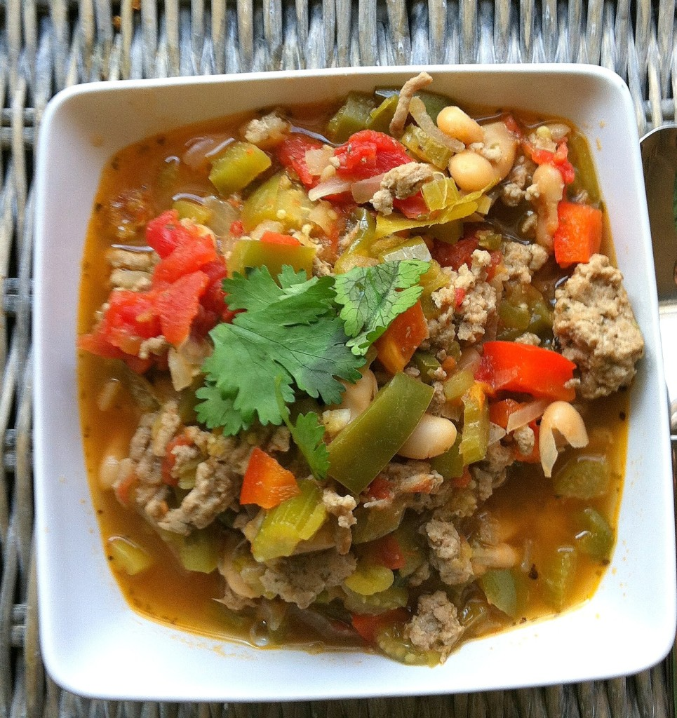 Cajun Green Chili - spicy turkey chili