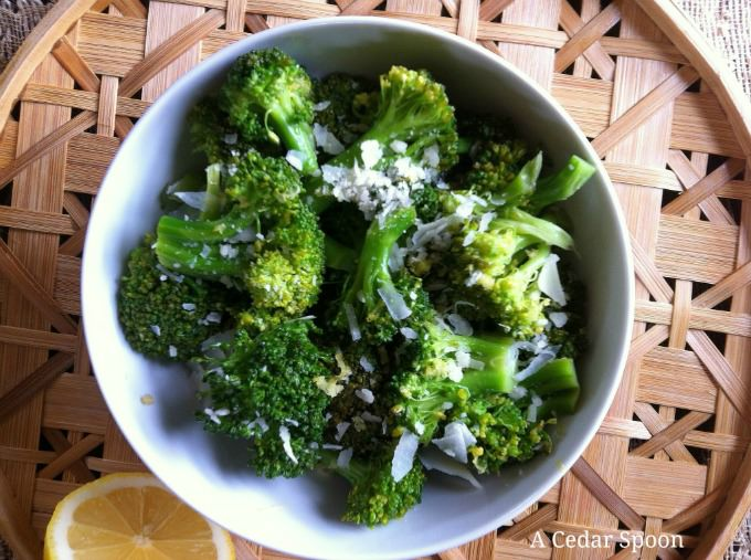 Broccoli bowl of Lemon Parmesan Broccoli