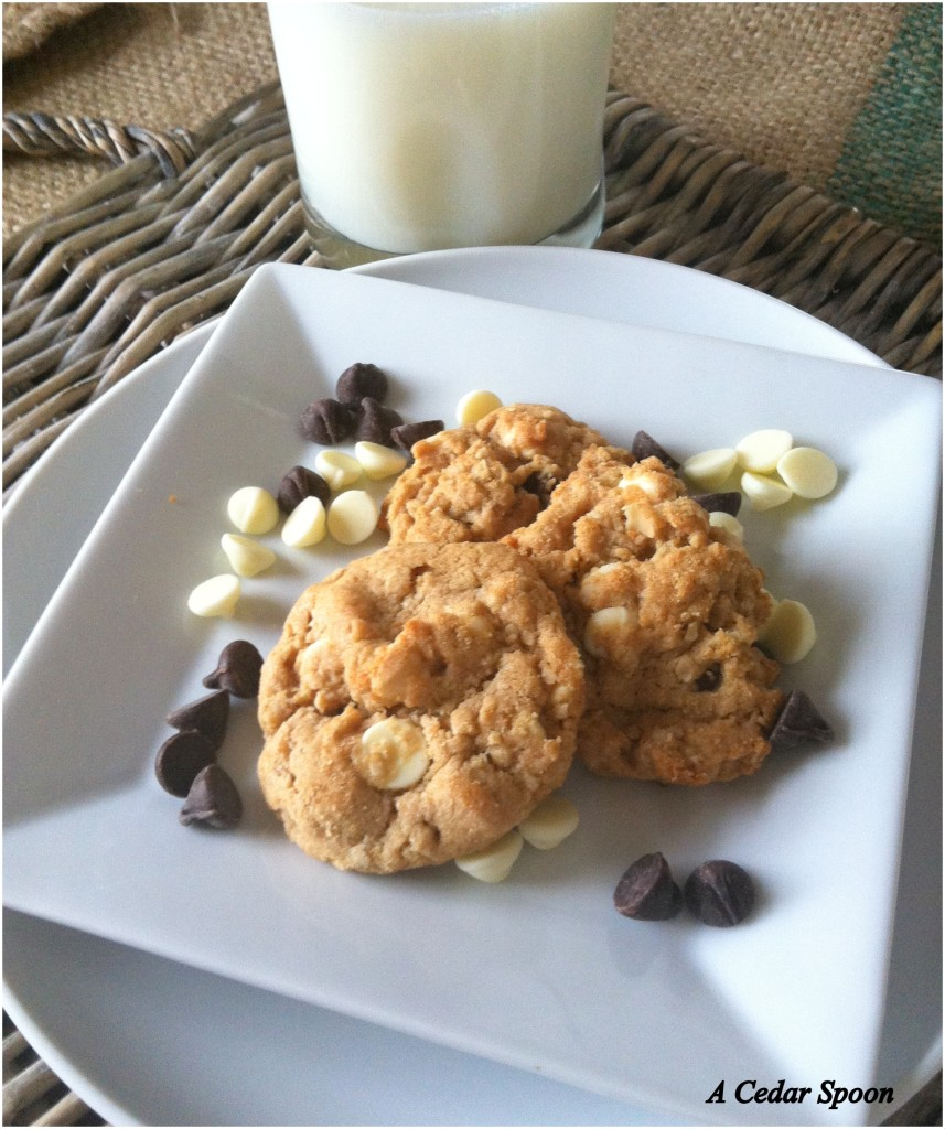 Peanut Butter Oatmeal Two Chip Cookies on a plate