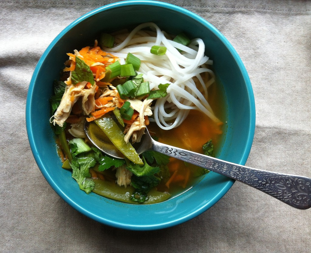 bowl of Spicy Asian Chicken And Noodle Soup