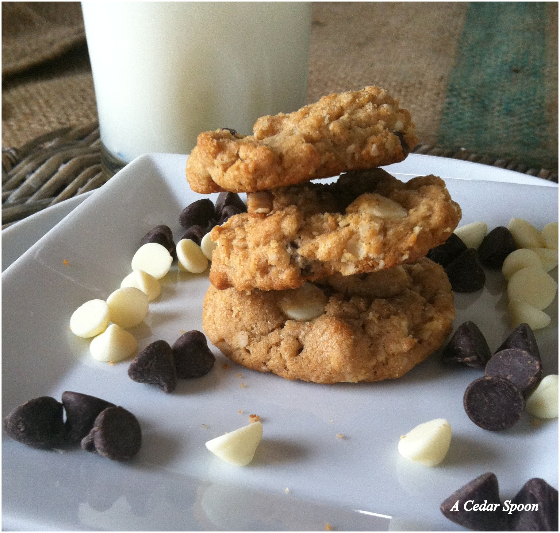 Peanut Butter Oatmeal Two Chip Cookies recipe from A Cedar Spoon