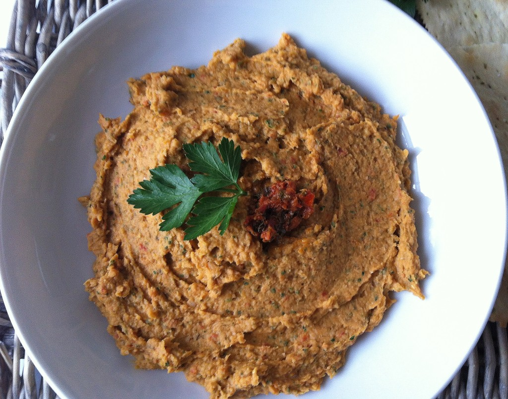White Bean and Sun Dried Tomato Dip appetizer