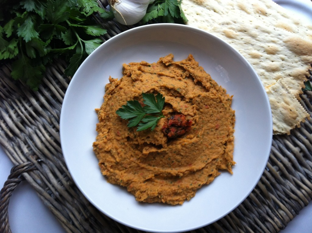 bowl of White Bean and Sun Dried Tomato Dip