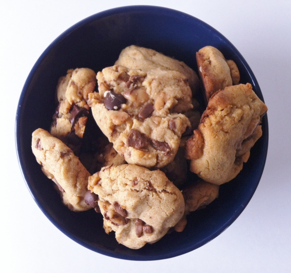 bowl full of Peanut Butter Toffee Cookies
