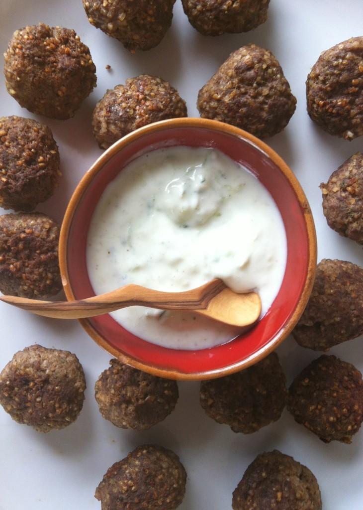 Kibbeh Meatballs With Spiced Yogurt Sauce appetizer recipe