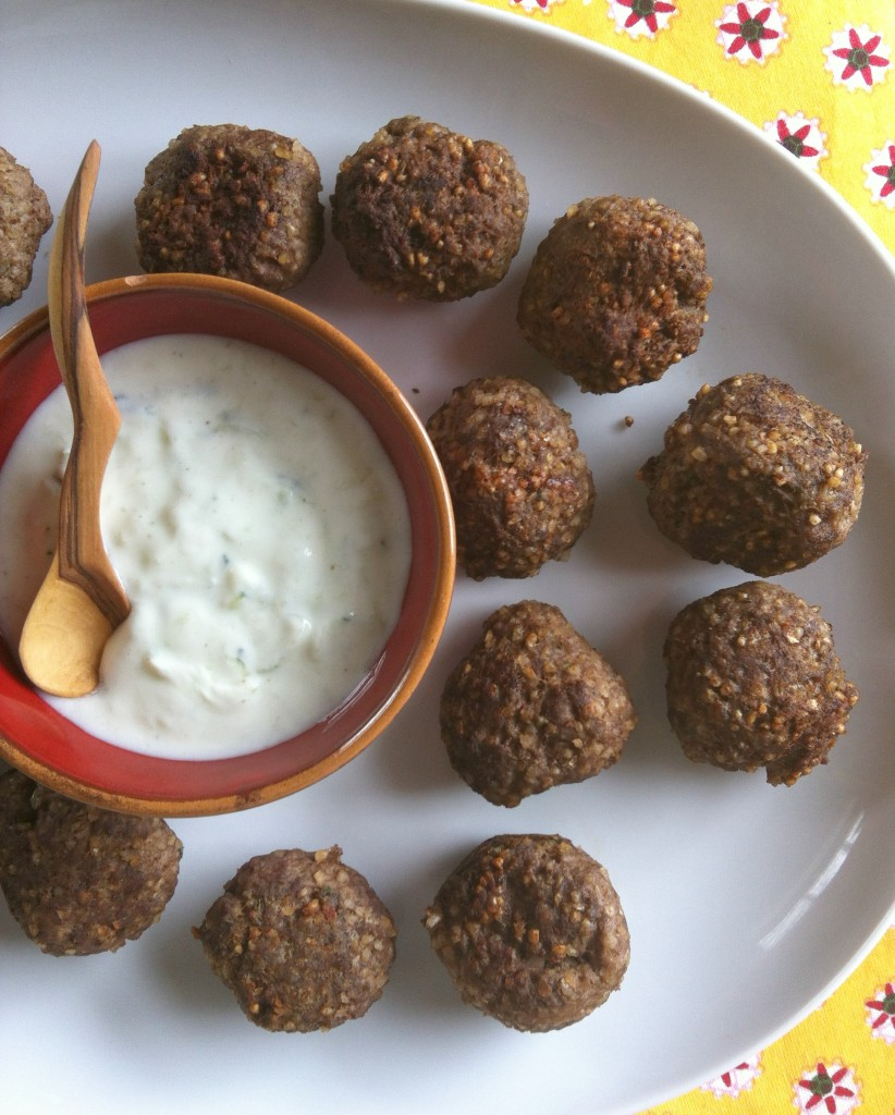 Kibbeh Meatballs With Spiced Yogurt Sauce