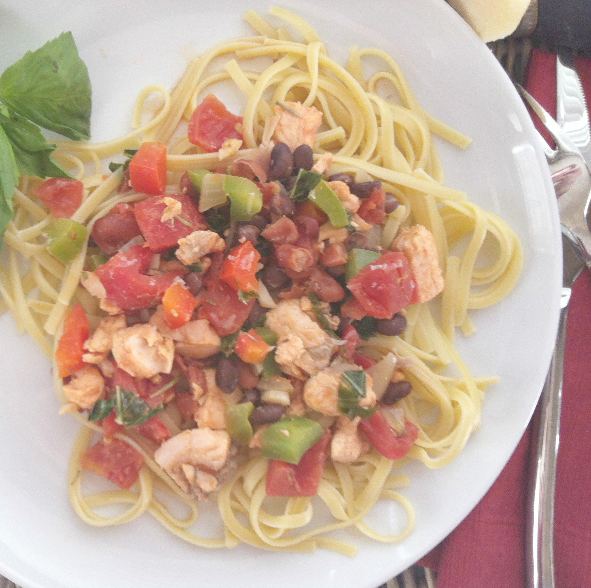 This delicious Salmon Linguine is a light and healthy meal made from a recipe passed down to me from my Mom.