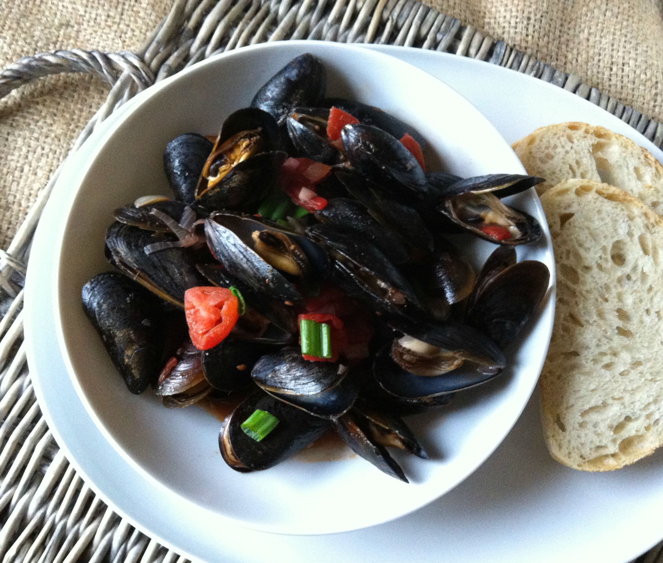 Mussels With Smoked Spanish Paprika from A Cedar Spoon
