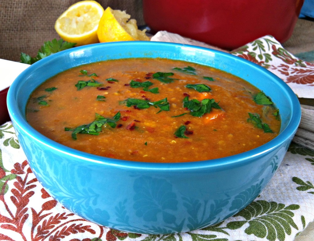 Moroccan Red Lentil Soup recipe from A Cedar Spoon