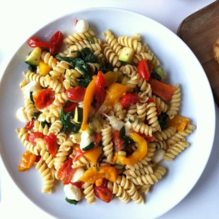 Roasted Red Pepper Pasta recipe from A Cedar Spoon